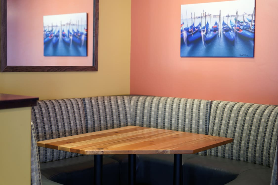 solid wood restaurant booth table