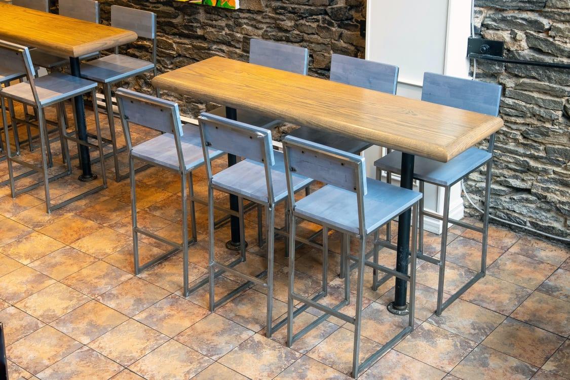 Industrial style restaurant bar stools