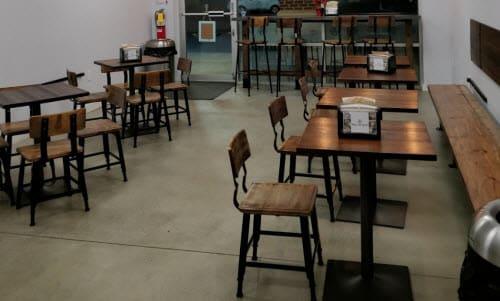 Wood and metal industrial restaurant furniture