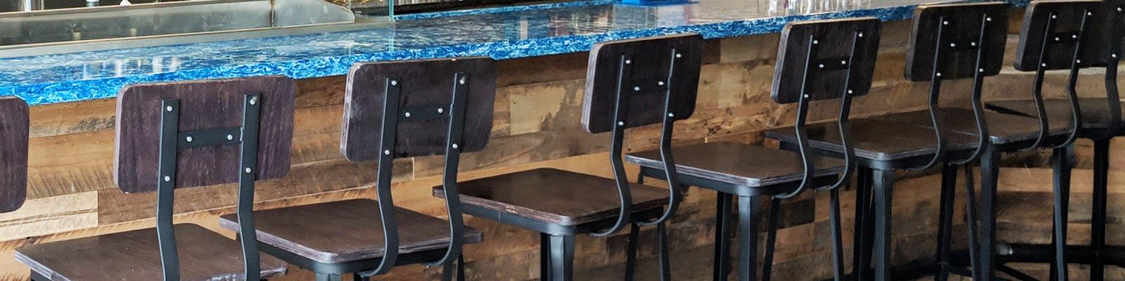 Wood and metal bar stools