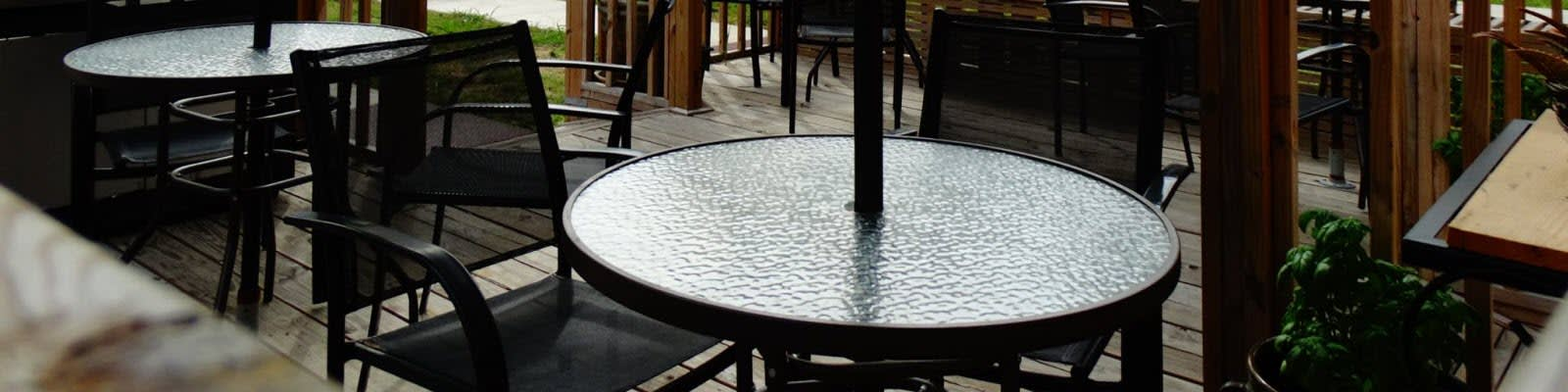 Commercial patio chairs and tables