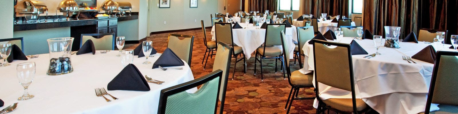 Banquet chairs in a hotel dining room