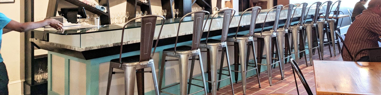 Industrial Tolix style bar stools