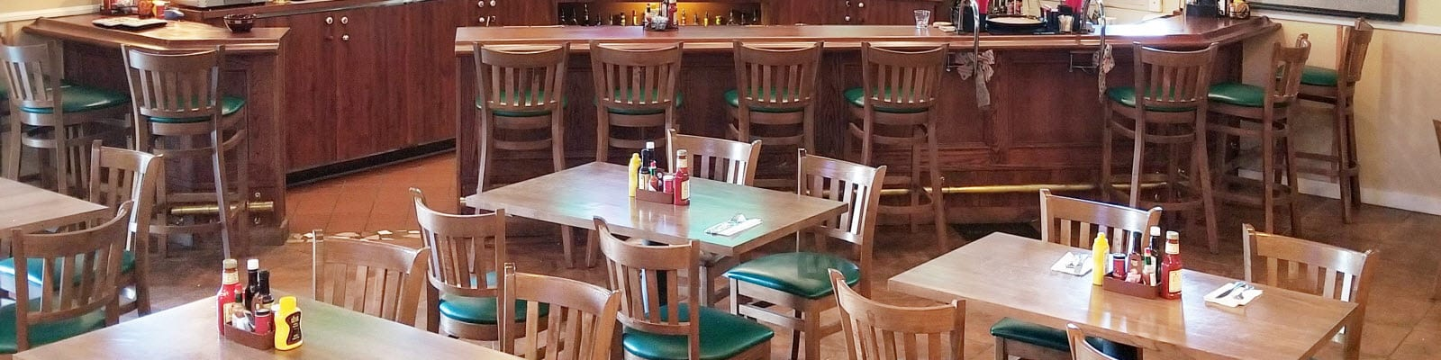 Wood restaurant tables and chairs