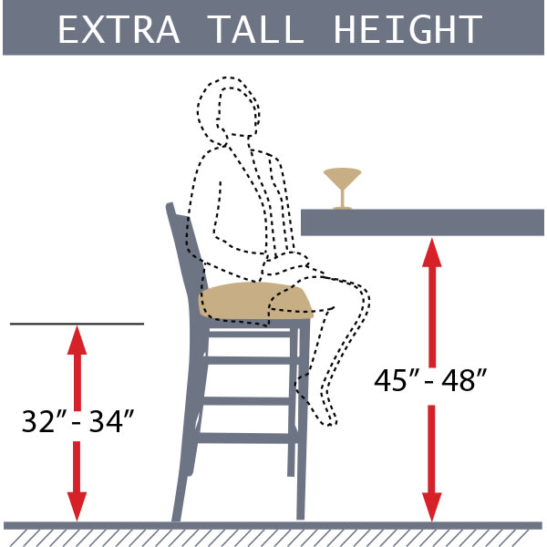 extra tall bar stool diagram