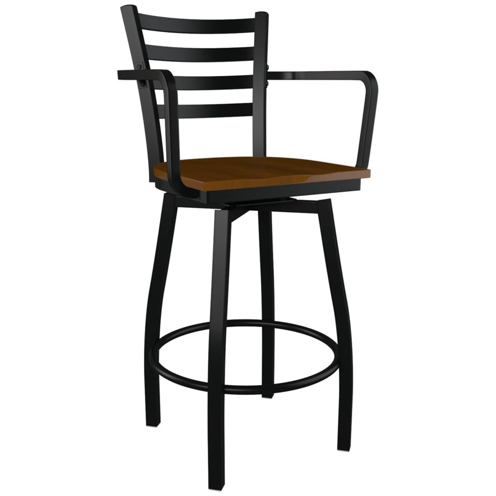 Awesome Swivel Ladder Back Metal Bar Stool With Arms Pdpeps Interior Chair Design Pdpepsorg