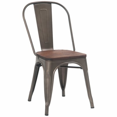 Bistro Style Metal Chair with Wood Seat