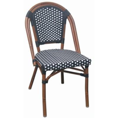 Aluminum Bamboo Black and White Rattan Patio Chairs