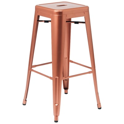 Bistro Style Backless Metal Bar Stool in Copper Finish