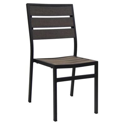 Black Aluminum Patio Chair with Plastic Teak