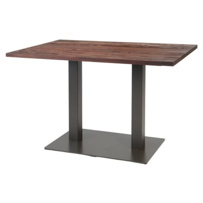 Industrial Series Restaurant Table With Metal Base and Wood Top