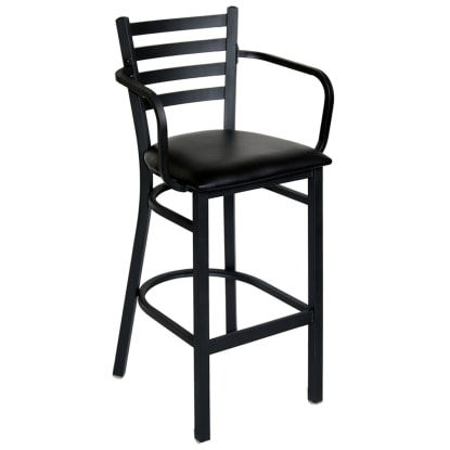 Ladder Back Metal Bar Stool With Arms