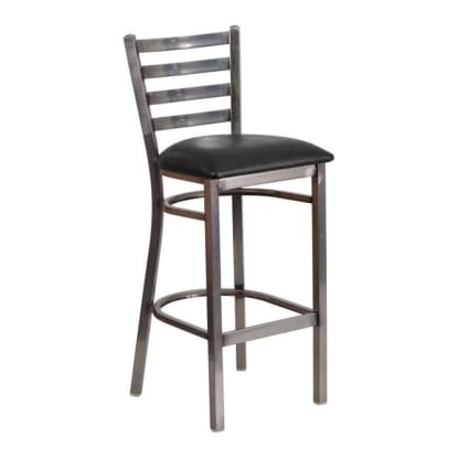 Clear Coat Metal Ladder Bar Stool
