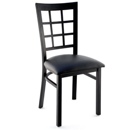 Window Back Metal Restaurant Chair - Black Finish with a Black Vinyl Seat
