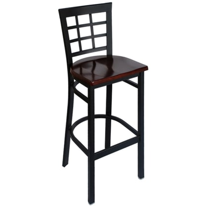 Window Back Metal Bar Stool - Black Frame with a Dark Mahogany Wood Seat