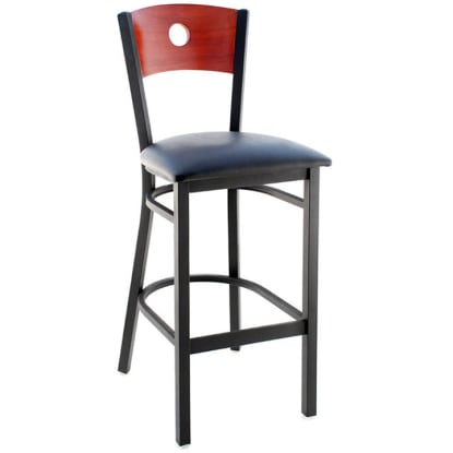 Interchangeable Back Metal Bar Stool with Circled Back - Black Frame with a Mahogany Wood Back and Black Vinyl Seat