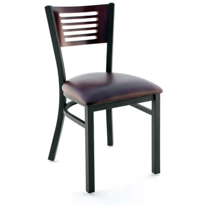 Interchangeable Back Metal Chair 5 Slats in Back - Black Finish with a Dark Mahogany Finish Back and a Wine Vinyl Seat