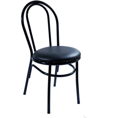 Arc Metal Restaurant Chair - Black Finish with a Red Vinyl Seat