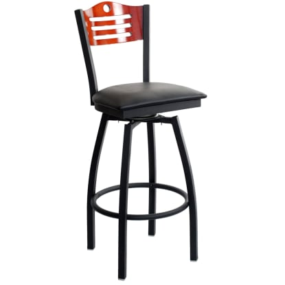 Swivel Bar Stool with a Wood Back - Circle & 3 Slats