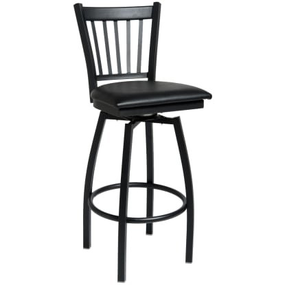Vertical Slat Swivel Bar Stool
