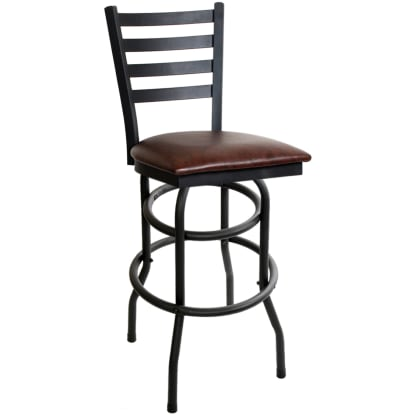 Ladder Back Double Ring Swivel Bar Stool