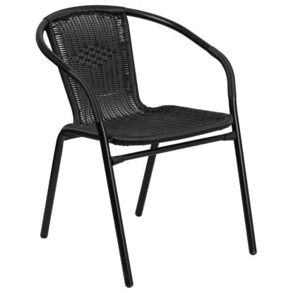 Black Indoor-Outdoor Rattan Restaurant Chair