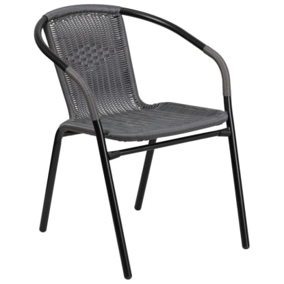Grey Indoor-Outdoor Rattan Restaurant Chair