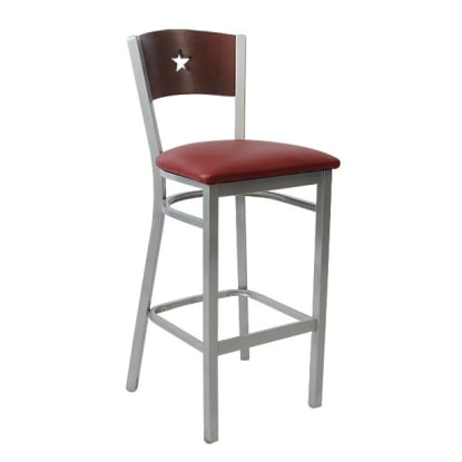 Grey Finish Interchangeable Back Metal Bar Stool with a Star in the Back