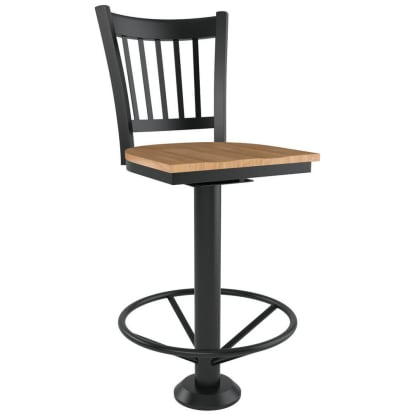 Vertical Slat Bolt Down Metal Swivel Bar Stool