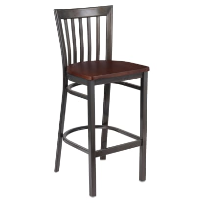 Clear Coat Elongated Back Metal Bar Stool