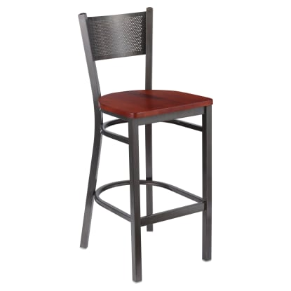 Clear Coat Checker Back Metal Bar Stool