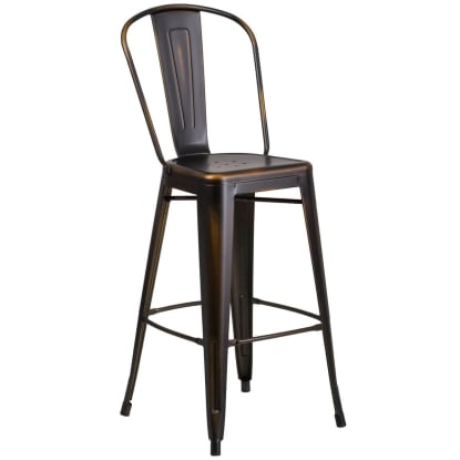 Distressed Bronze Bistro Style Metal Bar Stool