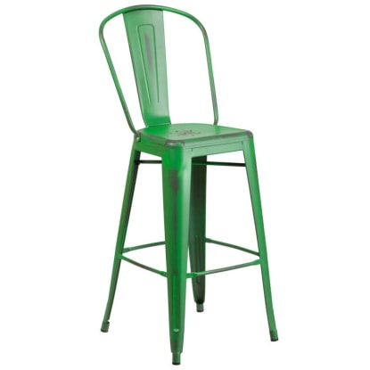 Distressed Green Bistro Style Bar Stool