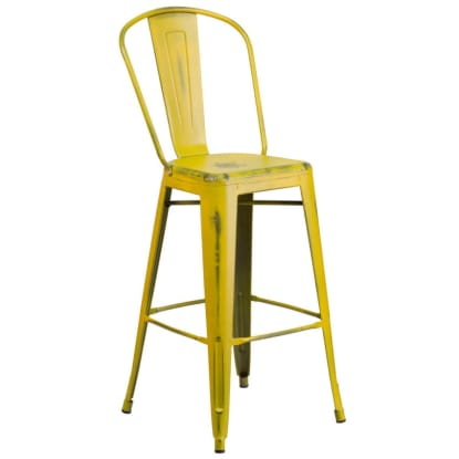 Distressed Yellow Bistro Style Bar Stool
