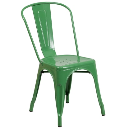 Bistro Style Metal Chair in Green Finish