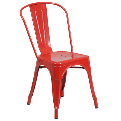 Bistro Style Metal Chair in Red Finish