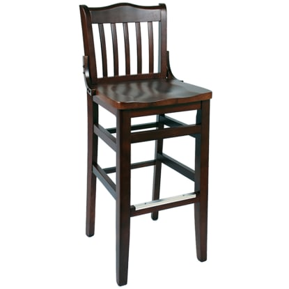 Schoolhouse Wood Bar Stool - Dark Mahogany Finish with a Wood Seat