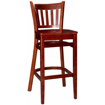 Vertical Slat Wood Bar Stool - Mahogany Finish with a Wood Seat