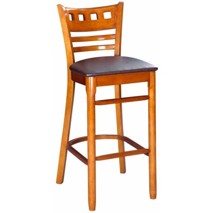 American Back Bar Stool - Cherry Finish with a Wine Vinyl Seat