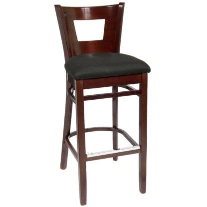 Duna Wood Bar Stool - Dark Mahogany Finish with a Black Fabric Seat