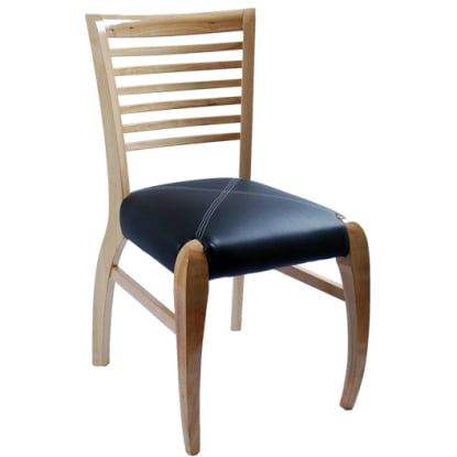 Designers Ladder Back Chair - Natural Finish with a Black Vinyl Seat