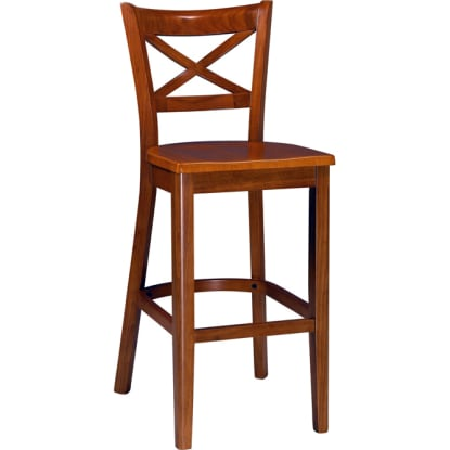 X Back Wood Bar Stool - Cherry Finish with a Wood Seat