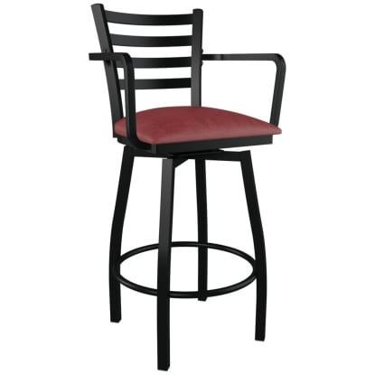 Swivel Ladder Back Metal Bar Stool With Arms