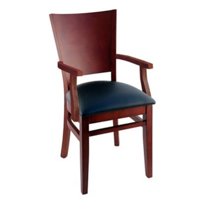 Tiffany Wood Restaurant Chair With Arms - Mahogany Finish with a Black Vinyl Seat