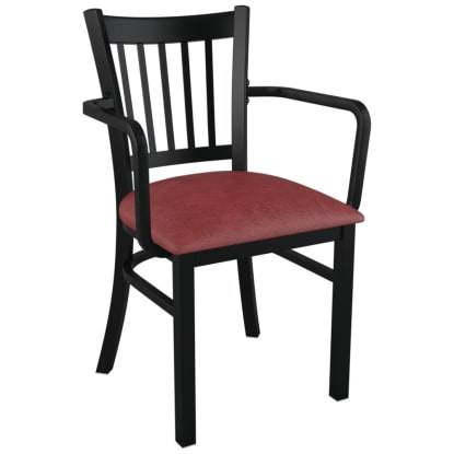 Metal Vertical Slat Restaurant Chair with Arms