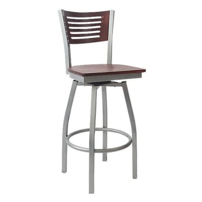 Silver Swivel Interchangeable Back with 5 Slats Metal Bar Stool