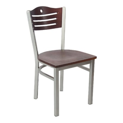 Silver Interchangeable Back Metal Restaurant Chair with Slats & Circle