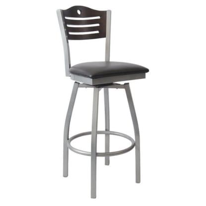 Silver Interchangeable Back Metal Swivel Bar Stool with Circle & 3 Slats