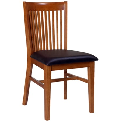 Elongated Back Wood Restaurant Chair