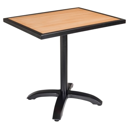 Black Aluminum Patio Table with Plastic Teak Top